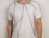 Minimalist Black and white asymmetrical punk rock organic cotton t shirt