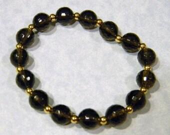 Smoky Quartz and Gold Bead Stretch Bracelet