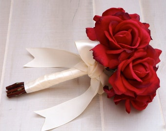 CHOOSE RIBBON COLOR - Real Touch Red Rose Bouquet, Red Rose Bouquet, Bridal Bouquet, Bridesmaid, Flower Girl, Toss Bouquet, Wedding Flowers