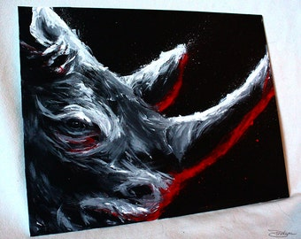 Rhino Rhinoceros African Animal Painting - Africa Big Five Original Art Acrylic Paint on Canvas - 11x14