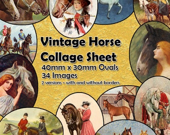 Vintage Horses Printable Digital Collage Sheet  - 40mm x 30mm ovals  - 34 different images - perfect for jewelry making etc