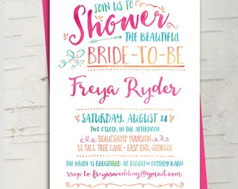 Bright Watercolor Bridal Shower Invitation || Hot Pink, Fuschia, Turquoise, Melon Orange, Aqua Blue