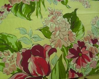 Vintage 1940's, 50's Vivid Color Floral Cotton Fabric, 1 yard plus