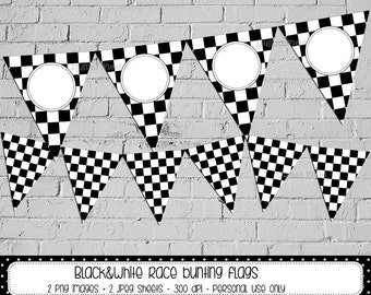 Race bunting flags - black and white printable DIY party banner - instant download