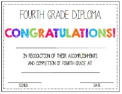 6th grade graduation certificate template - fourth grade 4th grade diploma award