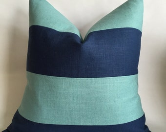 Blue and Village Blue Linen/Cotton Fabric Striped Pillow Cover