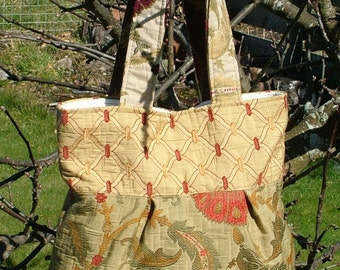 Short Handled Recycled Upholstery Swatch Bag