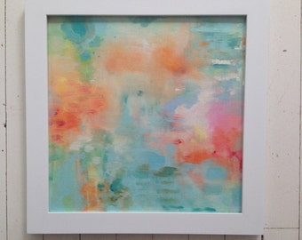Seaside 2 Coastal Abstract Painting-- Art in frame