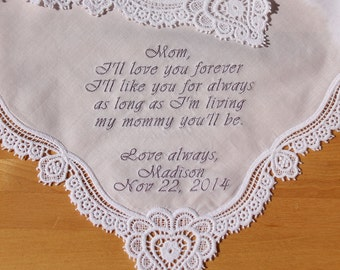 Wedding Handkerchief Embroidered to Mother of Bride Monogrammed Personalized Custom (#9601)