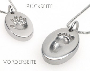 Double-sided necklace pendant with your child's actual handprint and footprint - personalized, baby handprint, baby footprint, new mom