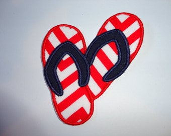 """4.0"""" Red White & Blue Flip Flop Iron On Patches"""