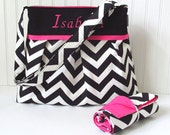 Chevron Diaper Bag in Black and Hot Pink with Matching Changing Pad Large Nappy Choose Your Own Baby Boy Girl