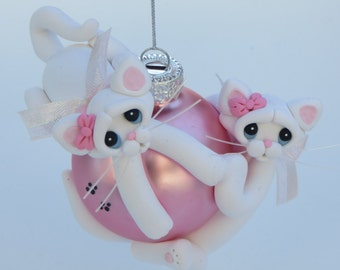 Christmas Ornament Polymer Clay White Cats Playing