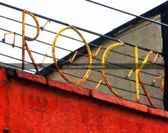 "Sign ""ROCK"" Inspirational Word Fine Art Photograph"