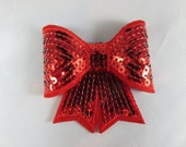 "3"" sequin bows, Red , red sequin, red sequin bow"