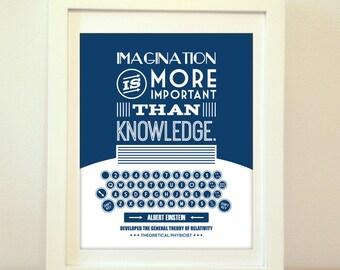 Imagination is More Important Than Knowledge, Albert Einstein, Einstein, Einstein Quote, Type, Typography, Typewriter, Inspiration, Imagine
