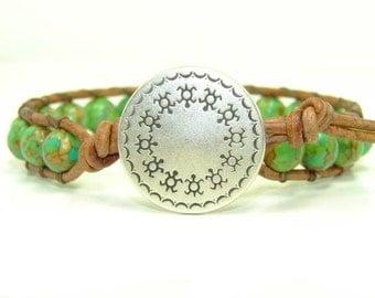 Green Mosaic Magnesite Beaded Leather Wrap Bracelet, Tribal, Men's Single Wrap