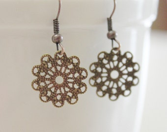 Bronze filigree earrings, delicate detailed lace earrings in bronze, simple and rustic