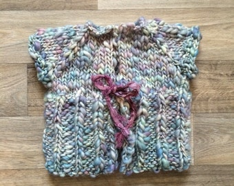 Knit Sweater - Kimono Style in blues and light purple, handspun soft wool, older baby/toddler size