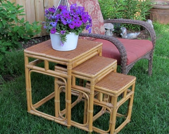 Nice Wicker And Bamboo Furniture   1970s Rattan Nesting Tables   Three Piece Set    Oriental