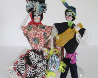 Exotic Handmade Portugal Dolls - Puppets - Authentic Cultural Dress - Folk Art Music - Dance Clothing - Vintage Global - Ethnic Home Decor