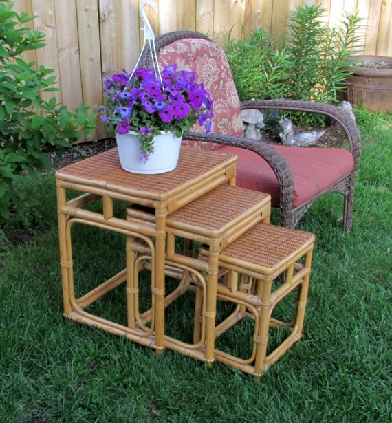 Etsy Vintage Bamboo Furniture: Wicker And Bamboo Furniture 1970s Rattan Nesting Tables
