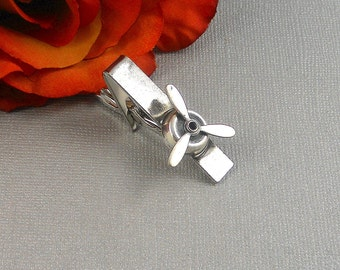 Airplane Propeller  Men's Tie Bar Clip Silver Tie Bar Propeller  Tie Clip Airplane For Him Weddings, Grooms