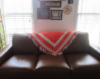 Vintage Neon Orange and White Crochet Shawl with Fringe