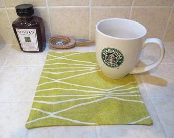 Modern Yellow Quilted Mug Rug