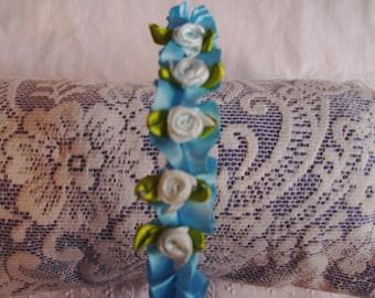 Sale Was 4.00 - Blue Flower Headband - Tiny Flower Headband - Ruffled Ribbon & Flower Headband - Rosebud Headband - Blue Headband