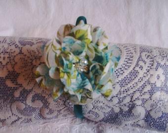 Flower Headband - Shades of Teal Headband - Spring/Summer Headband - Ruffled Chiffon Flower Headband - Delicate Flower Headband