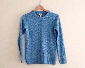 Vintage Bass Cable Knit Crew Neck Sweater // Bass Jumper // Blue Minimalist Sweater // Basic Pullover 70s / 80s