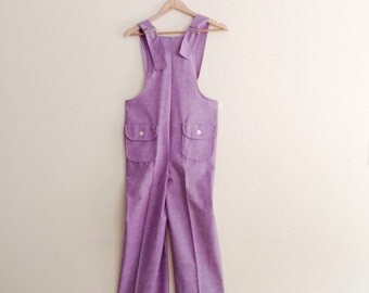 Vintage Lavender Chambray Overalls // Pastel Open Back Jumpsuit // 70s Dungarees // Wide Legged Overall // 1970s