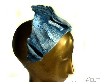Blue Bridesmaid Tiara for Woman- Adjustable Size - Comfortable Felted Headpiece of Silk and Merino Wool - Something Blue