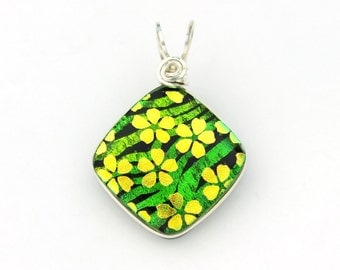 Gold Flowers on Green Animal Stripe Pattern Dichroic Glass Pendant, Sterling Silver Wire Wrapped