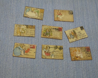 Miniature  collection of  Beatrix potter Peter Rabbit's Postcards 1:12 Scale Or 1/6 Scale Dollhouse Miniature playscale Dollhouse Miniature