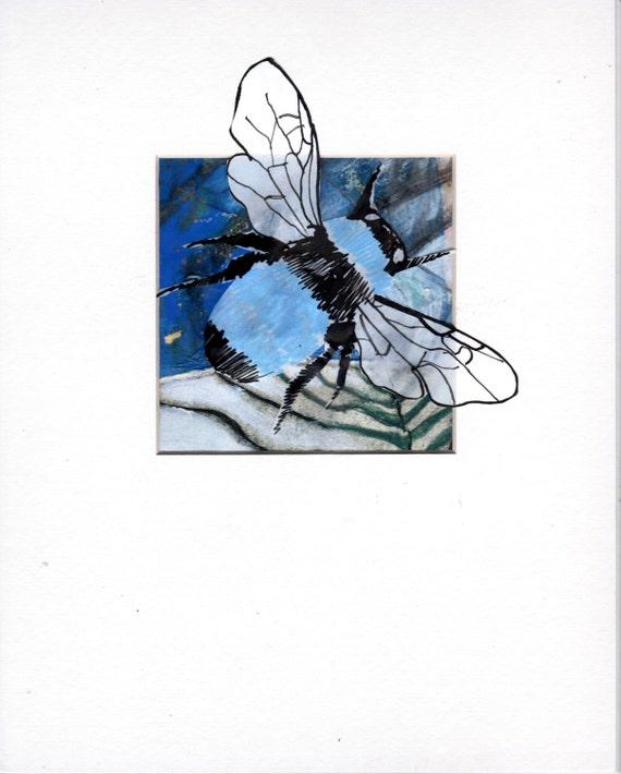 Bee Home Decor: Blue BeeOriginal Bee Wall Art Bee Home Décor Bee By