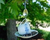 Teacup Bird Feeder with Hand Stamped Bent Spoon- HAPPY BIRDIE DAY- Perfect Birthday Gift