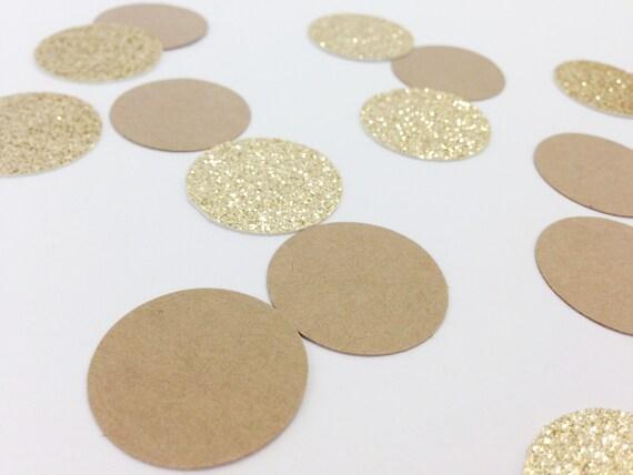 100 Kraft + Gold Glitter - 1 Inch Circle Confetti - Wedding Confetti. Birthday Party. First Birthday. Rustic Wedding. Bridal Shower.
