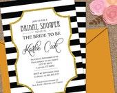 STRIPES Bridal Shower Invitation / Glitter Frame / 2-sided Wedding or Shower DESIGN / Custom Colors / DIY Printable or We Print for You