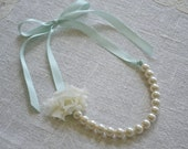 Rose {Little Girl}: Ivory Pearl Necklace with Mint Ribbon and Ivory Fabric Flower or Build Your Own