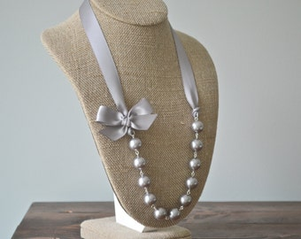 Aurora: Beautiful Bride or Bridesmaid Pearl Necklace - Gray Pearls with Gray Ribbon & Bow