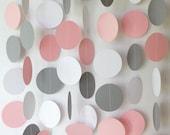 Pink, Gray & White Garland, Pink Wedding Decoration, Pink Birthday Party, Bridal Shower, Pink Baby Shower Decor, 10 foot long paper garland