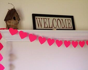 Pink Heart Garland, Wedding Decor, Pink Bridal Shower Decorations, Valentine's Day Garland, 8 ft. long