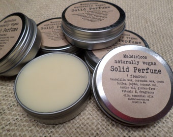 Vegan-SOLID PERFUME in 80 Unique Scents-1oz.-No Alcohol,DPG,Phthalates or Nitro Musk & Cruelty-Free