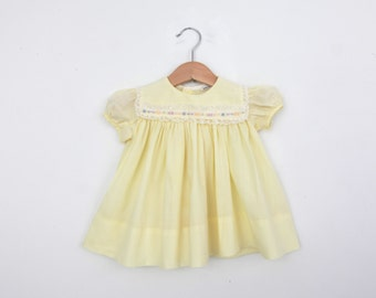 Vintage Baby Dress in Pastel Yellow 12 months
