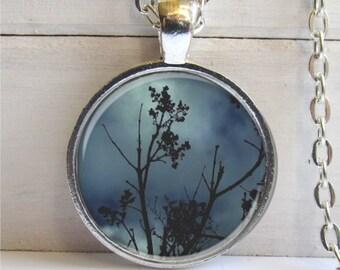 Twilight Tree Art Pendant, Photo Pendant, Silver and Glass