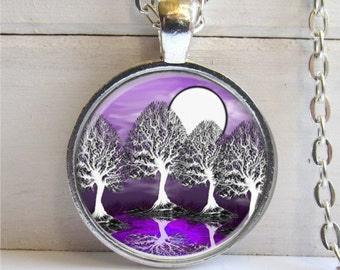 Tree Pendant, Forest Necklace, Purple Jewelry