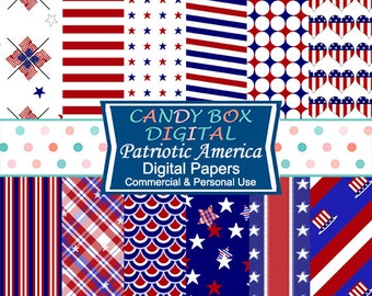 Fourth of July Patriotic Digital Paper, 4th of July, Stars And Stripes, Red White and Blue Flag Paper - Commercial Use OK