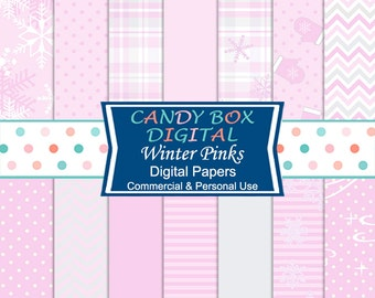 Winter Pinks Snowflake Digital Paper, Babys First Christmas Paper - Commercial Use OK